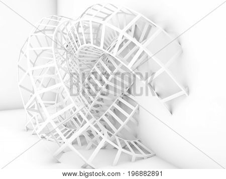 Abstract Digital Background, White 3D Wire-frame