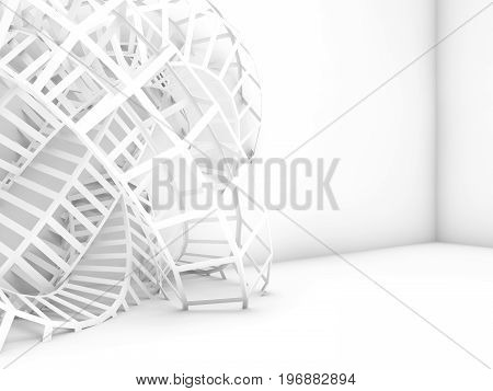 Abstract Digital Background, 3D White Wire-frame