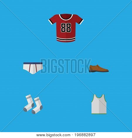 Flat Icon Garment Set Of T-Shirt, Singlet, Underclothes And Other Vector Objects