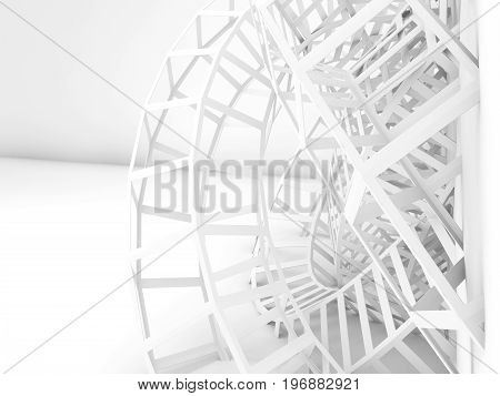Abstract White Digital Background, 3D Wire Shape