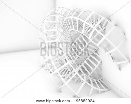 Abstract White Digital Background, Bent Wire Knot