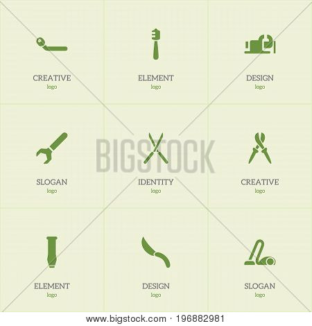 Set Of 9 Editable Instrument Icons. Includes Symbols Such As Nippers, Pliers, Screw Wrench And More