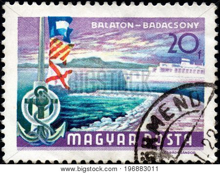 UKRAINE - CIRCA 2017: A postage stamp printed in Hungary shows Lake Balaton at Badacsony circa 1968