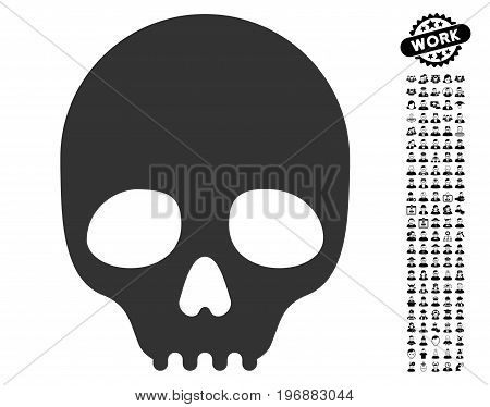Skull icon with black bonus job clip art. Skull vector illustration style is a flat gray iconic symbol for web design, app user interfaces.