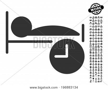 Sleep Time icon with black bonus work pictograph collection. Sleep Time vector illustration style is a flat gray iconic element for web design, app user interfaces.