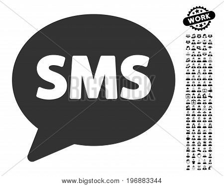SMS icon with black bonus job symbols. SMS vector illustration style is a flat gray iconic symbol for web design, app user interfaces.