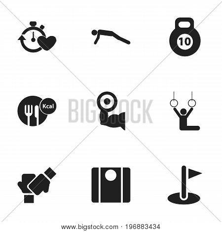 Set Of 9 Editable Sport Icons. Includes Symbols Such As Physical Education, Flag, Acrobat And More
