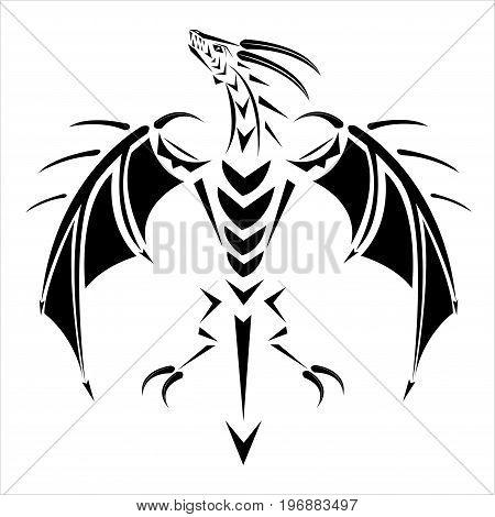 Tattoo of a black dragon on a back