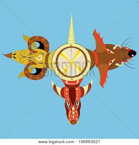Abstract three heads, dragon, dog, ram. vector