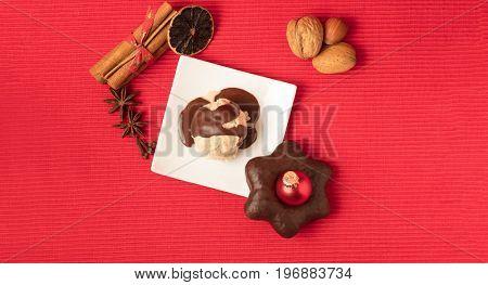 Top view of homemade christmas ice cream ball with chocolate sauce for christmas