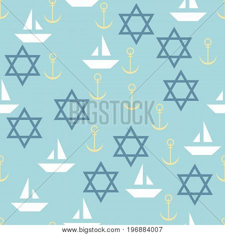 Nautical seamless pattern with star of David sailing boats and anchors.Travel sea and ocean. Vector Illustration