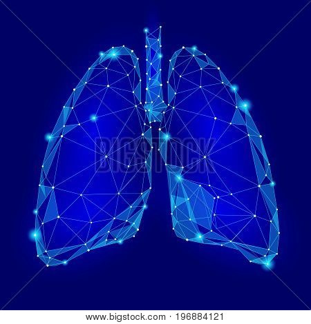 Human Internal Organ Lungs. Low Poly technology design. Blue color polygonal triangle connected dots. Health medicine icon background vector illustration art