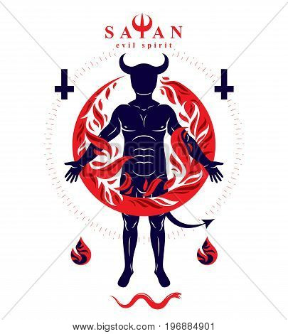 Vector graphic illustration of strong horned wicked male body silhouette surrounded by a fireball. Demonic infernal creature Baphomet.