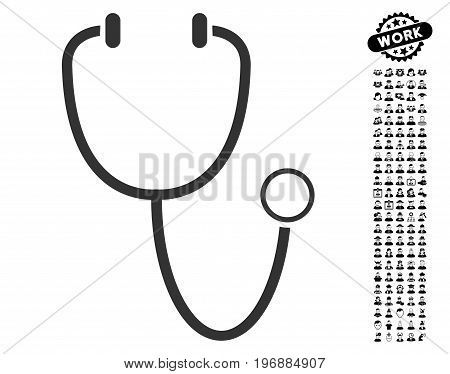 Stethoscope icon with black bonus men pictograms. Stethoscope vector illustration style is a flat gray iconic element for web design, app user interfaces.