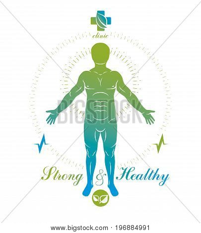 Vector human being standing. Alternative medicine concept phytotherapy illustration created as the combination of water and tree nature powers.