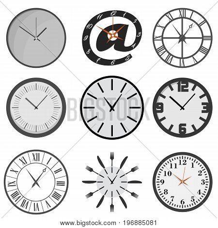 Set of wall clocks vector illustration eps 10