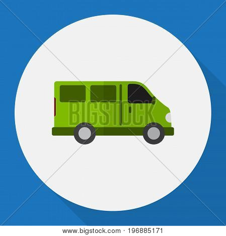 Vector Illustration Of Automobile Symbol On Lorry Flat Icon