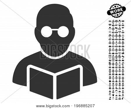 Student Reading Book icon with black bonus people graphic icons. Student Reading Book vector illustration style is a flat gray iconic symbol for web design, app user interfaces.