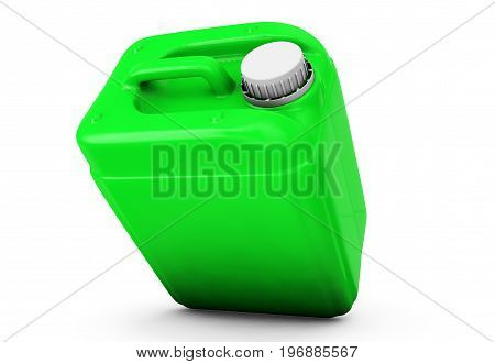 Green jerrycan isolated on white background 3d render