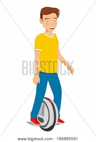 Teenager boy riding a self balancing unicycle electric scooter isolated over white background