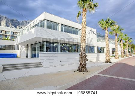 MAKARSKA, CROATIA - 7 JULY, 2017: Hotel Aria, on the waterfront in the resort town of Makarska on the Adriatic Sea.