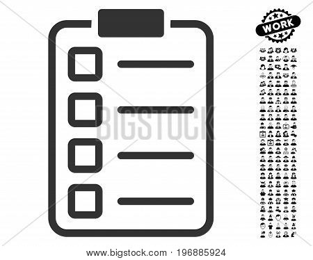 Test Form icon with black bonus job images. Test Form vector illustration style is a flat gray iconic symbol for web design, app user interfaces.