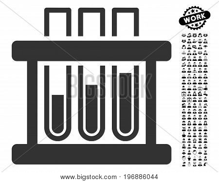 Test Tubes icon with black bonus profession symbols. Test Tubes vector illustration style is a flat gray iconic symbol for web design, app user interfaces.