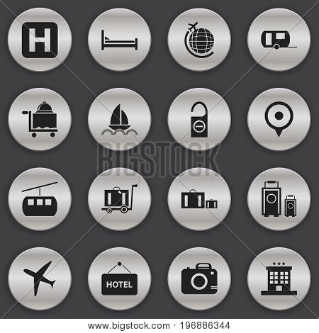 Set Of 16 Editable Journey Icons. Includes Symbols Such As Yacht, Luxury Inn, Photo Cam And More