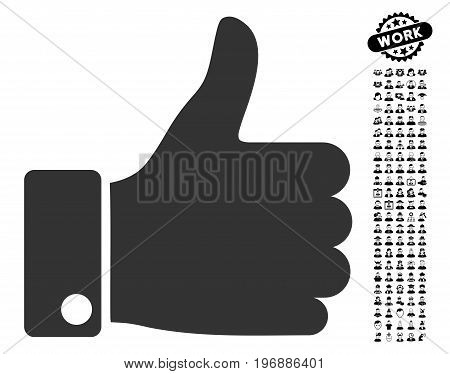 Thumb Up icon with black bonus people pictograph collection. Thumb Up vector illustration style is a flat gray iconic element for web design, app user interfaces.