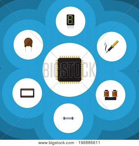 Flat Icon Technology Set Of Mainframe, Cpu, Resistor And Other Vector Objects