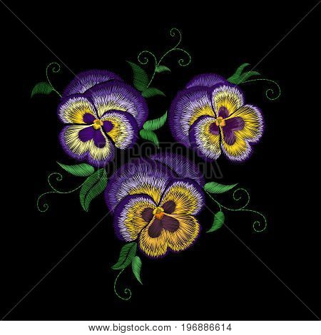 Pansy embroidery flower patch. Stitch texture effect. Traditional floral fashion decoration. Purple violet yellow color black background vector illustration art