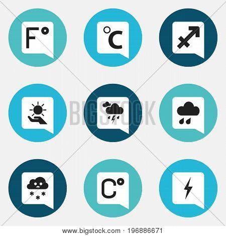 Set Of 9 Editable Air Icons. Includes Symbols Such As Thunder, Deluge, Celcius Degree And More