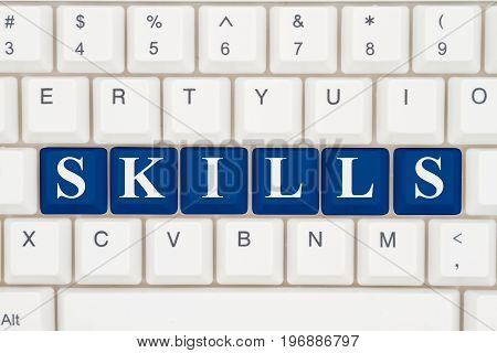 Skills training on the internet A close-up of a keyboard with blue highlighted text Skills 3D Illustration