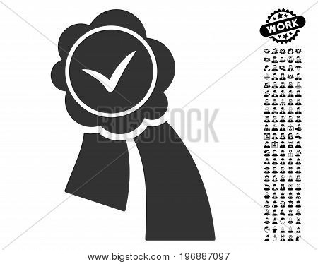 Validation Seal icon with black bonus job pictograms. Validation Seal vector illustration style is a flat gray iconic element for web design, app user interfaces.