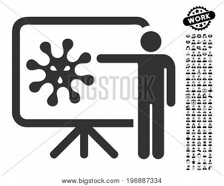 Virus Lecture icon with black bonus job clip art. Virus Lecture vector illustration style is a flat gray iconic symbol for web design, app user interfaces.