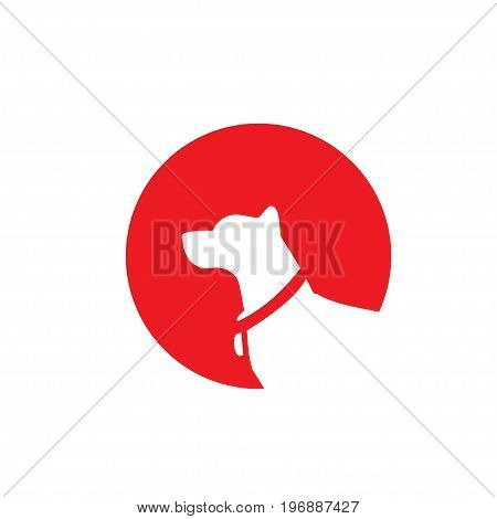 dog logo with red circle background vector, modern flat design dog logo with red circle background vector
