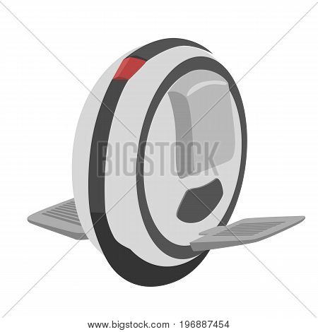 Self balancing unicycle electric scooter isolated over white background