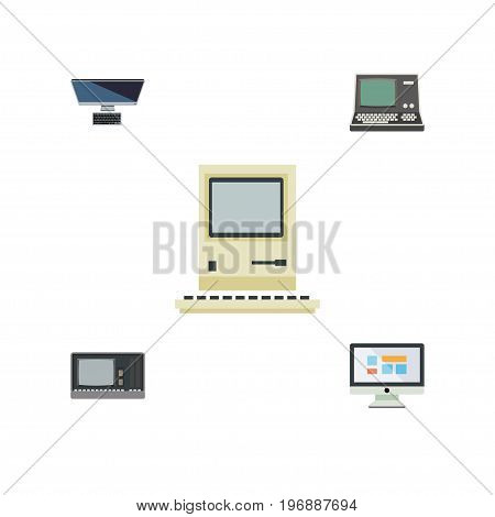 Flat Icon Laptop Set Of Vintage Hardware, Display, PC And Other Vector Objects