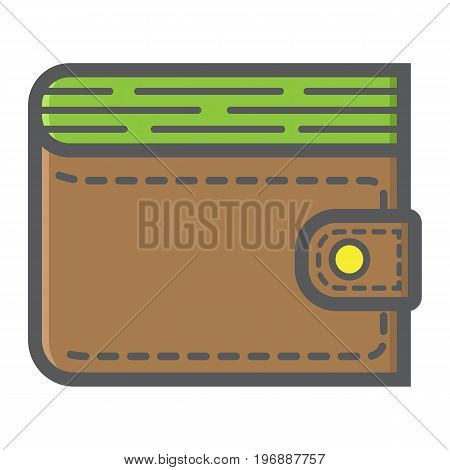 Wallet filled outline icon, business and finance, purse sign vector graphics, a colorful line pattern on a white background, eps 10.