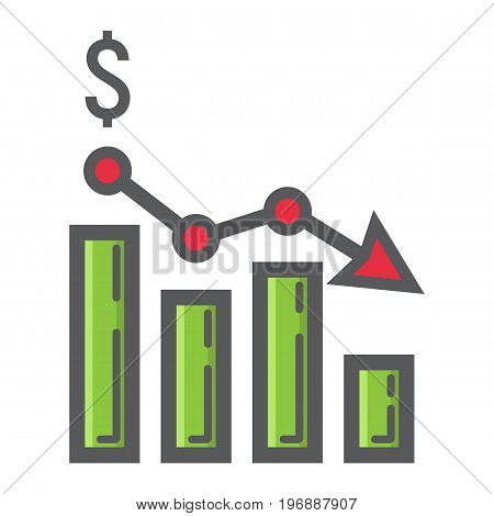 Declining graph filled outline icon, business and finance, chart sign vector graphics, a colorful line pattern on a white background, eps 10.