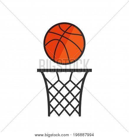 Basketball net with a ball. Basketball icon. Vector stock.