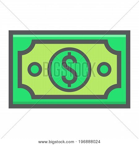 Money dollar filled outline icon, business and finance, cash sign vector graphics, a colorful line pattern on a white background, eps 10.