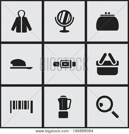 Set Of 9 Editable Business Icons. Includes Symbols Such As Shopping Case, Blend, Looking-Glass And More