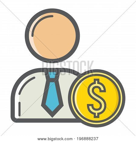 Investor filled outline icon, business and finance, businessman sign vector graphics, a colorful line pattern on a white background, eps 10.