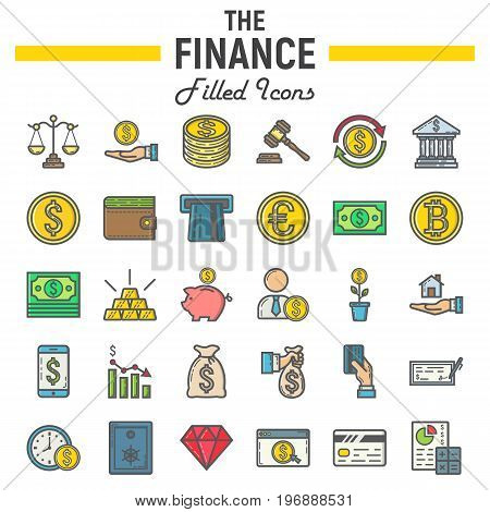Finance filled outline icon set, business symbols collection, marketing vector sketches, logo illustrations, business signs, colorful line pictograms package isolated on white background, eps 10.