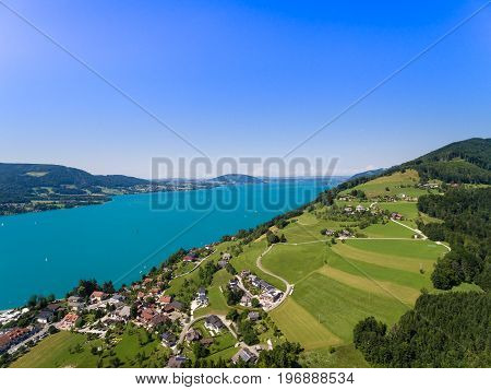 Aerial View Of Attersee Lake,  Attersee, Upper Austria, Austria