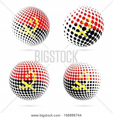 Angola Halftone Flag Set Patriotic Vector Design. 3D Halftone Sphere In Angola National Flag Colors