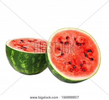 Big, ripe and organic halves of watermelon. Two halves of juicy watermelon with seeds, isolated on a white background. Cut, fresh and bright red watermelon fruit. Healthy food.