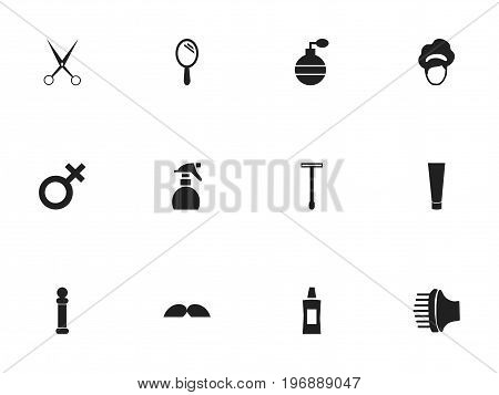 Set Of 12 Editable Hairdresser Icons. Includes Symbols Such As Whiskers, Reflector, Odor And More