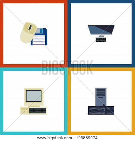 Flat Icon Computer Set Of Processor, Computer Mouse, PC And Other Vector Objects